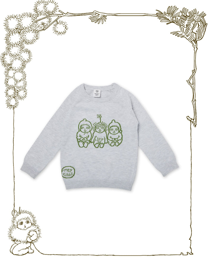 Walnut + May Gibbs Cuddle Knit Jumper (Bush Baby Grey)