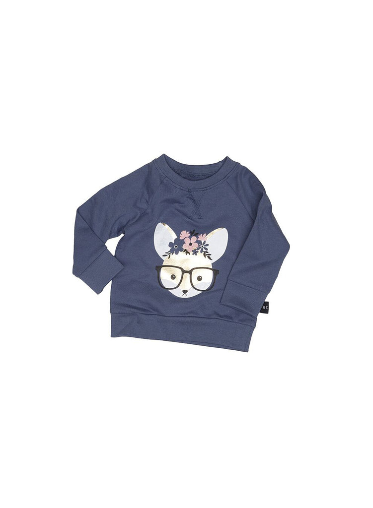 Huxbaby Flower Fox Sweatshirt (Indigo)