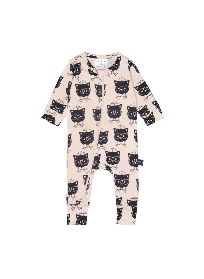 Huxbaby Sailor Cat Zip Romper (Rose)