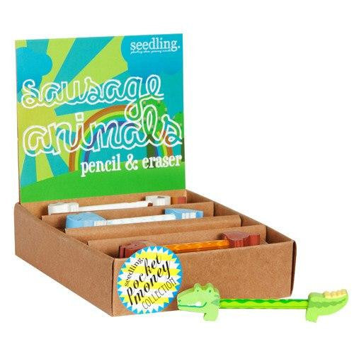Seedling Sausage Animals Pencil & Eraser