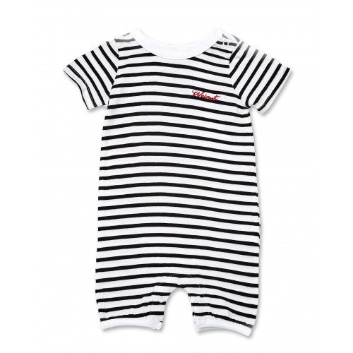 Walnut River Snap Romper (Blk/Wht Strip)
