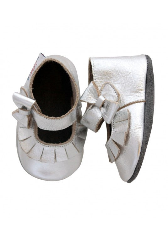 Little Circus Bow & Tassel Mary Janes (Silver)