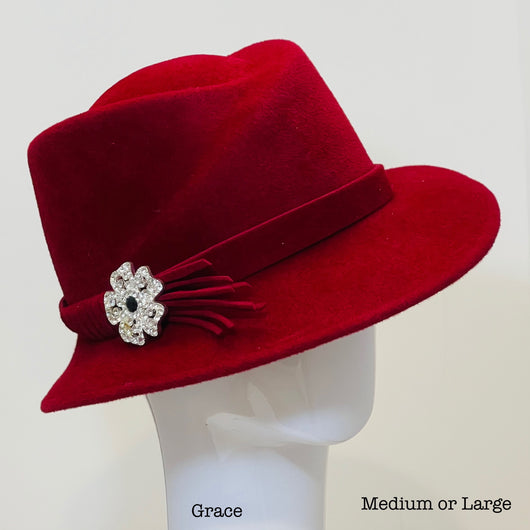 *Red Cranberry 'Grace' with antique pin