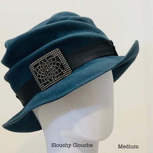 *Slouchy Cloche with leather and antique trim -  Blue Slate - Medium