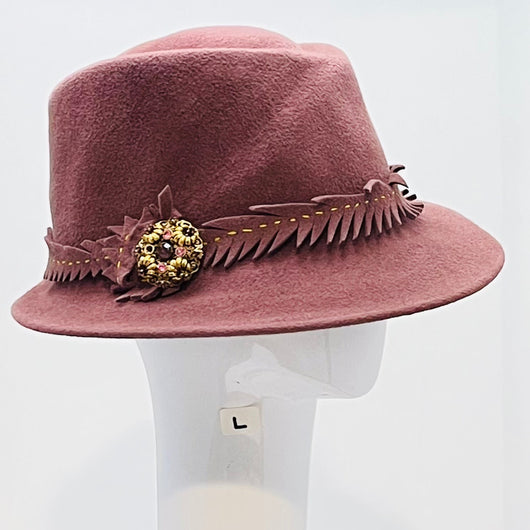 *Mauve 'Grace' with handmade trim and a vintage gold and rose pin- large