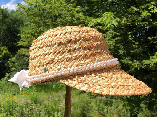One of a kind straw raffia hat with pearls - small