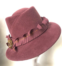 Mauve 'Grace' with handmade trim and a vintage gold and rose pin