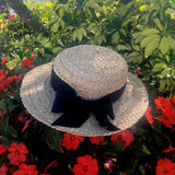 'Garden Party'  Raffia Brimmed Sunhat Handmade - (will ship after Oct.15th)