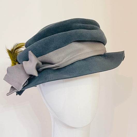 Dusty blue slouchy cloche.  Small