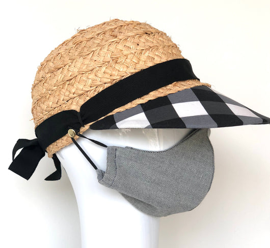 Raffia hat with black and white checked  brim.  Removable light denim mask included. Size small