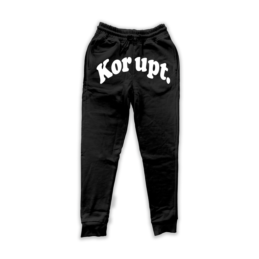 KORUPT - SMILE IT'S CRAZY OUT SWEATPANTS (BLACK) - koruptkollection
