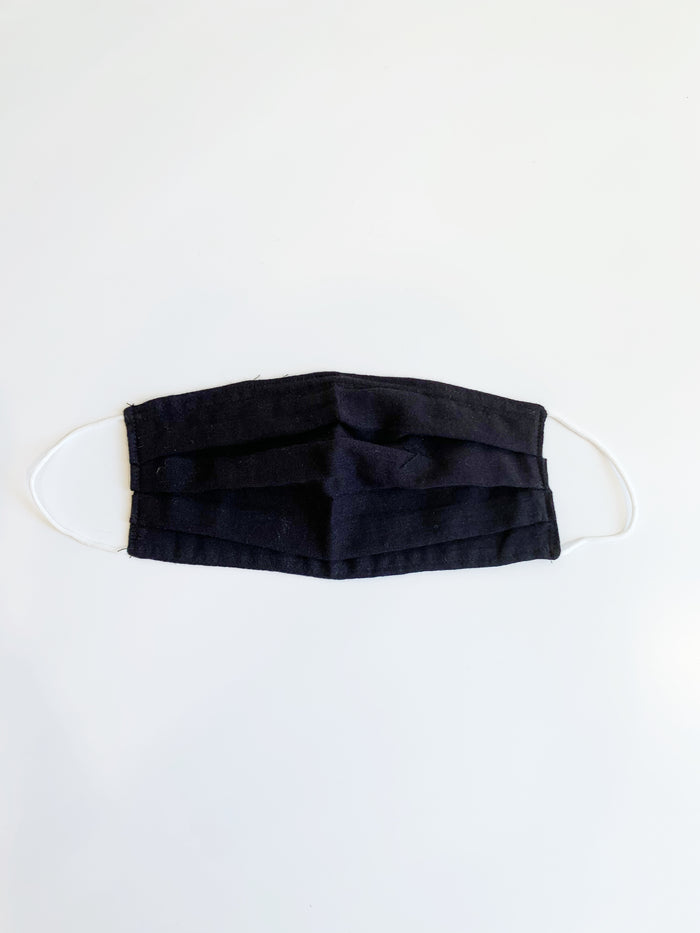 Black Pleated Cotton Face Mask