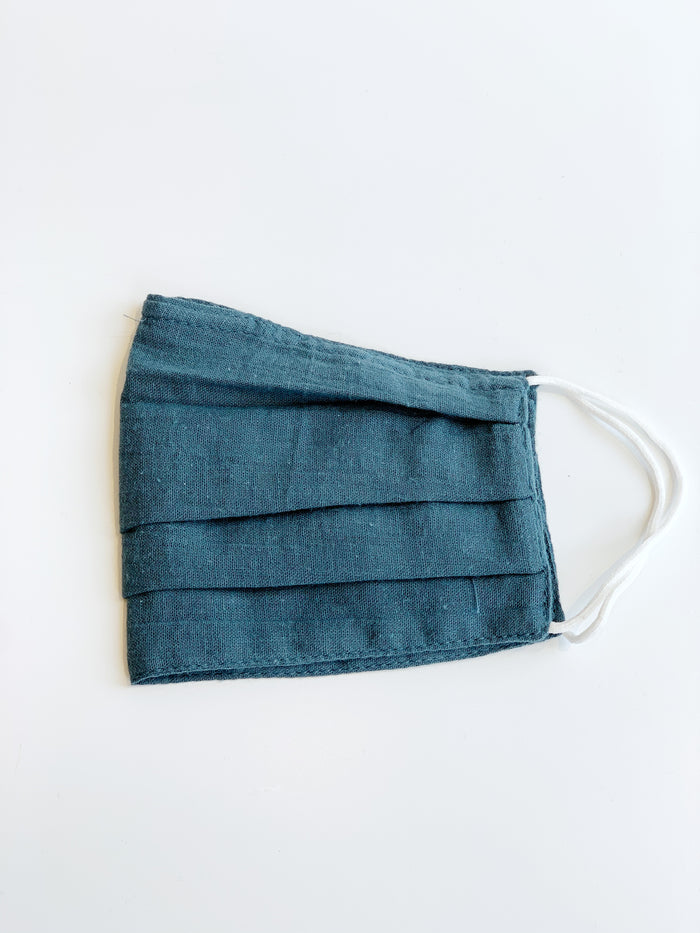 Teal Pleated Cotton Face Mask