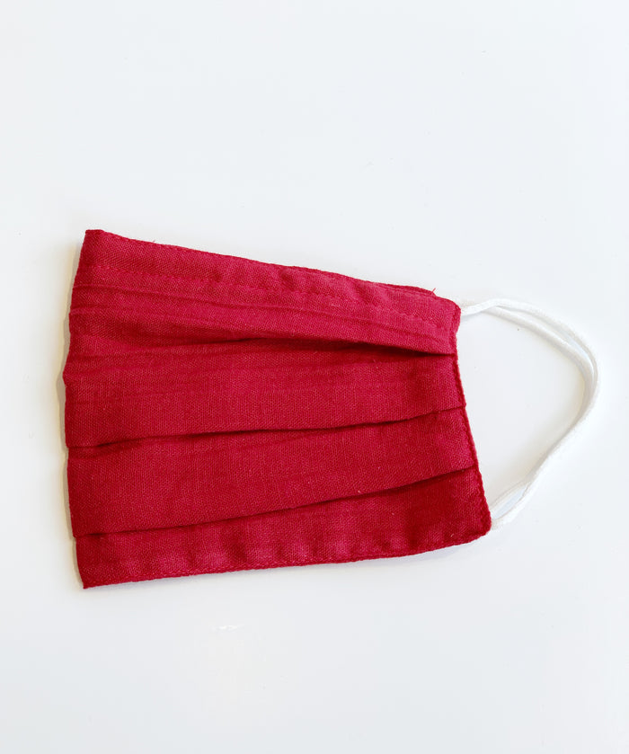 Red Pleated Cotton Face Mask