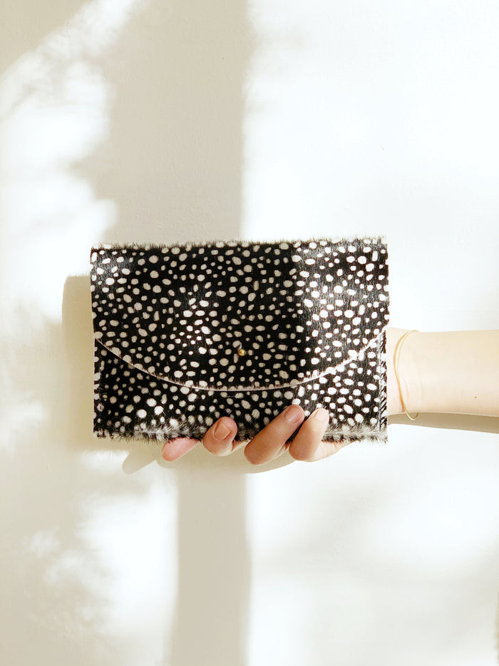 Dark Tiny Spotted Cowhide Envelope Pouch