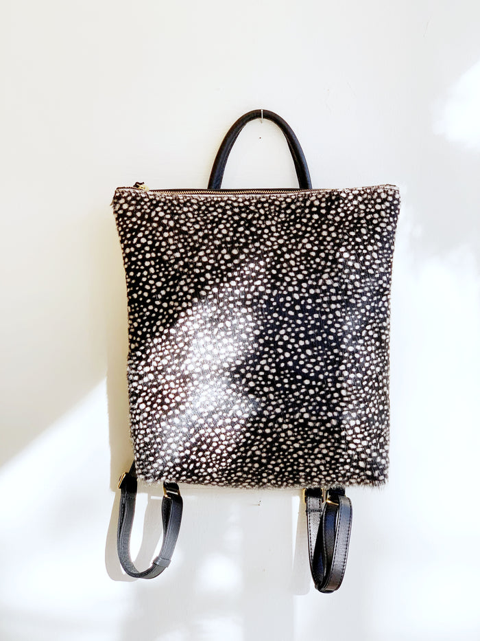 Dark Tiny Spotted Cowhide Backpack