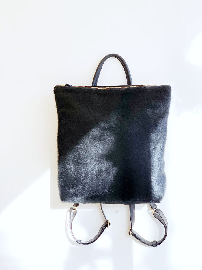 Black Cowhide Backpack