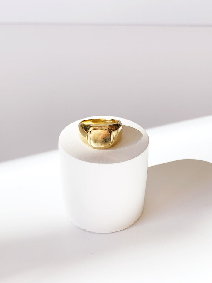 Gold Leo Signet Ring