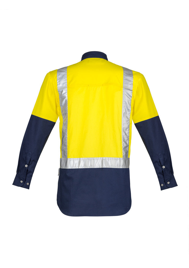 ACTIV EMBROIDERY DESIGNS. UNIFORMS. HI VIS SPLICED INDUSTRIAL SHIRT. MENS.