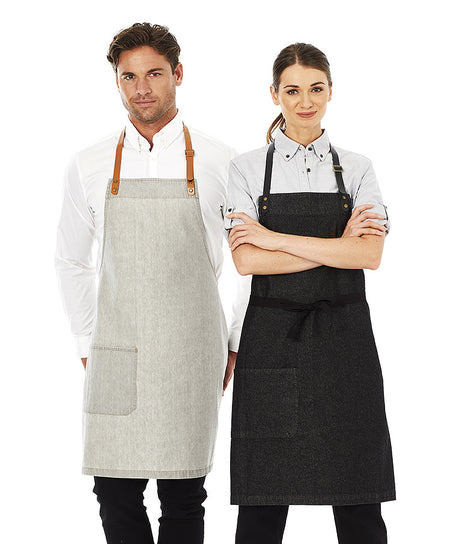 ACTIV EMBROIDERY DESIGNS. UNIFORMS. BYRON DENIM BIB APRON.