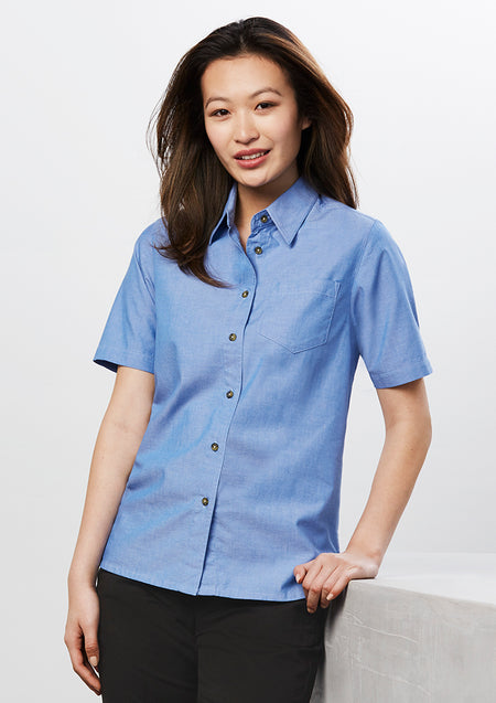 ACTIV EMBROIDERY DESIGNS.UNIFORMS.WORKWEAR.LADIES WRINKLE FREE CHAMBRAY SHORT SLEEVE SHIRT