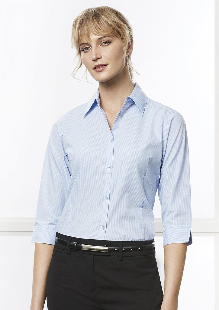ACTIV EMBROIDERY DESIGNS. UNIFORMS.WORKWEAR.LADIES MICRO CHECK 3/4 SLEEVE SHIRT