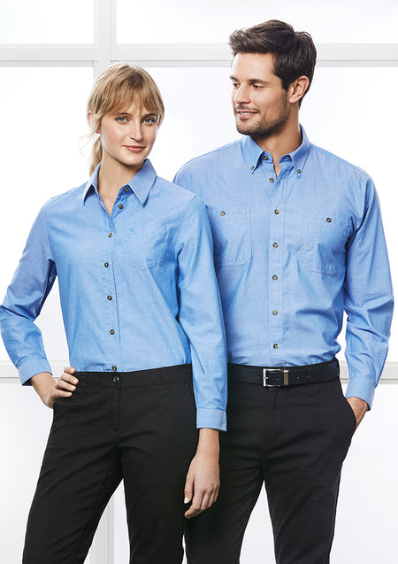 ACTIV EMBROIDERY DESIGNS.UNIFORMS.WORKWEAR.LADIES WRINKLE FREE CHAMBRAY LONG SLEEVE SHIRT