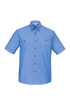 ACTIV EMBROIDERY DESIGNS. UNIFORMS. WORKWEAR.MENS WRINKLE FREE CHAMBRAY SHORT SLEEVE SHIRT