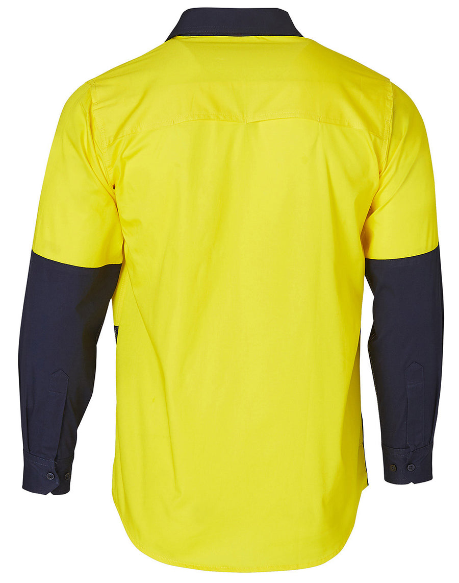 Hi Vis Cool-Breeze Cotton Twill L/S Shirt (Mens)