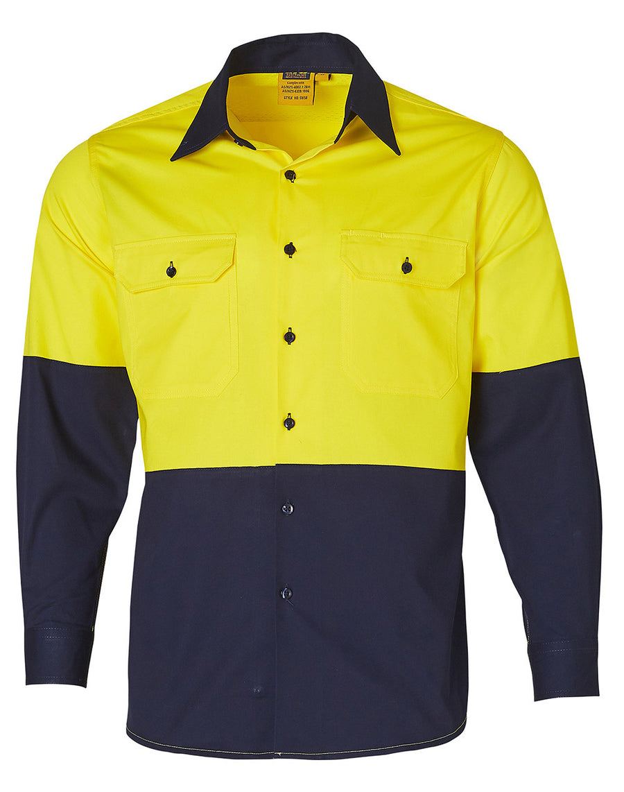 SW58, Hi Vis Cool-Breeze Cotton Twill L/S Shirt (Mens)