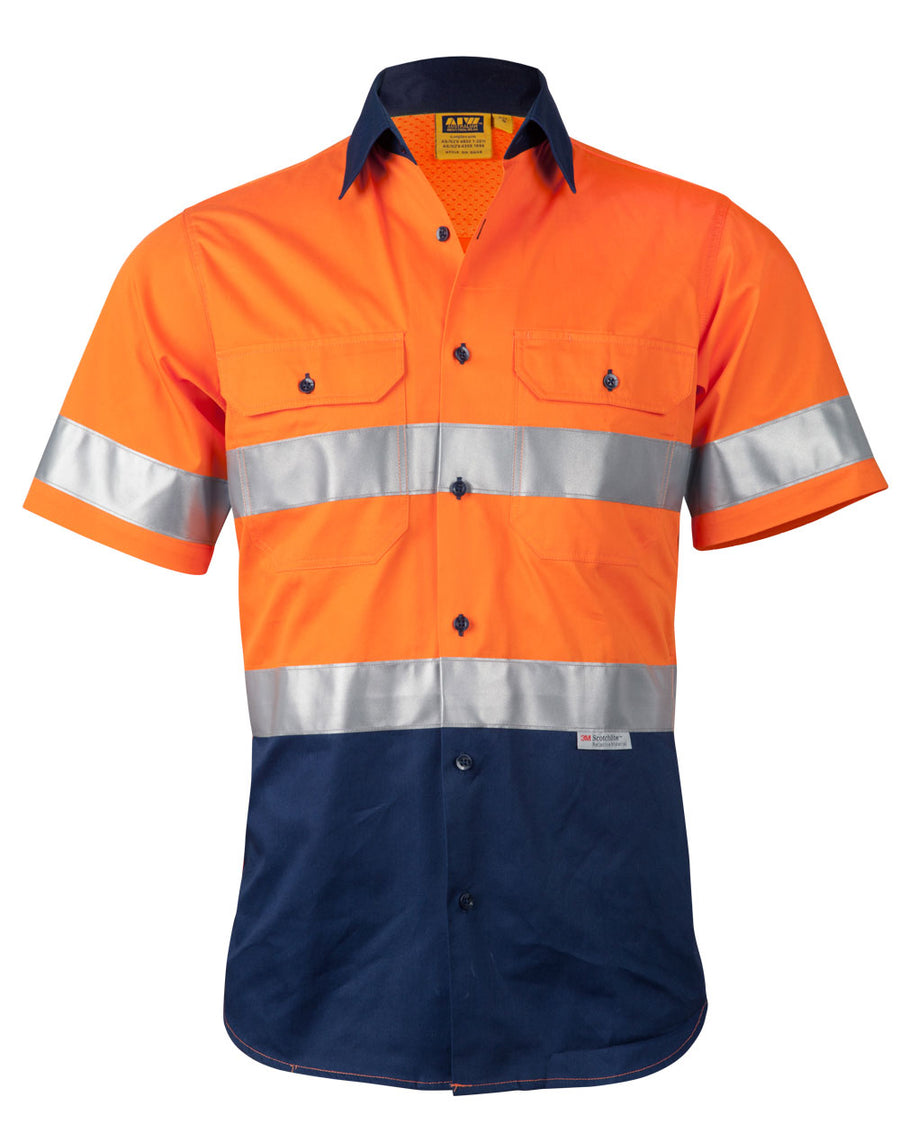 Hi Vis Cool-Breeze Cotton Twill S/S Shirt With 3M Tape (Mens)
