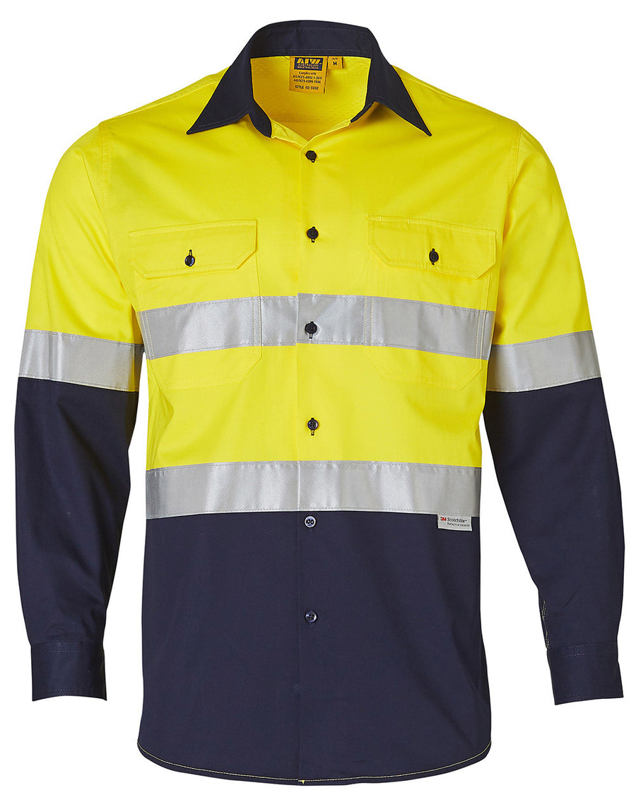 SW60, Hi Vis Cool-Breeze Cotton Twill L/S Shirt With 3M Tape (Mens)
