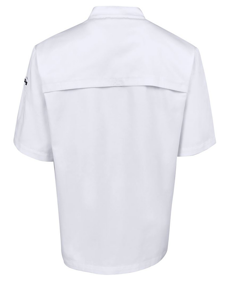 ACTIV EMBROIDERY DESIGNS. UNIFORMS. VENTED CHEF'S SHORT SLEEVE JACKET. MENS.