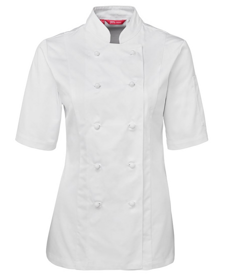 ACTIV EMBROIDERY DESIGNS. UNIFORMS. SHORT SLEEVE CHEF'S JACKET. LADIES.