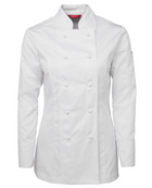 ACTIV EMBROIDERY DESIGNS. UNIFORMS. LONG SLEEVE CHEF'S JACKET. LADIES.