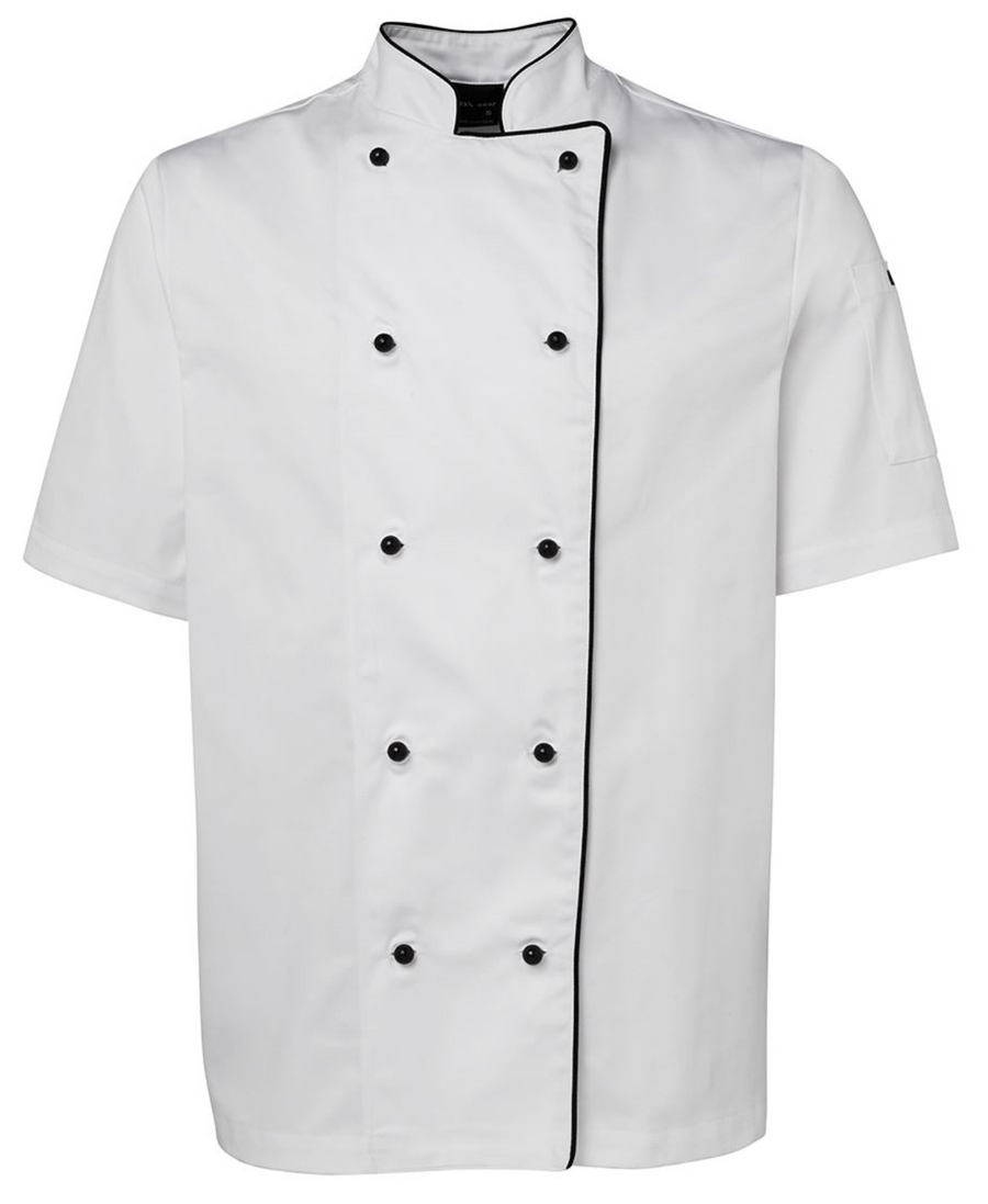 ACTIV EMBROIDERY DESIGNS. UNIFORMS. SHORT SLEEVE CHEF'S JACKET. UNISEX.