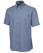 ACTIV EMBROIDERY DESIGNS. UNIFORMS. SHORT SLEEVE COTTON CHAMBRAY SHIRT BLUE STITCH. MENS.