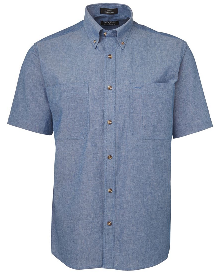 ACTIV EMBROIDERY DESIGNS. UNIFORMS. JB SHORT SLEEVE COTTON CHAMBRAY SHIRT BLUE STITCH. MENS.