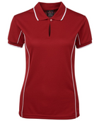 ACTIV EMBROIDERY DESIGNS. UNIFORMS. JB WEAR SHORT SLEEVE PIPING POLO. LADIES.