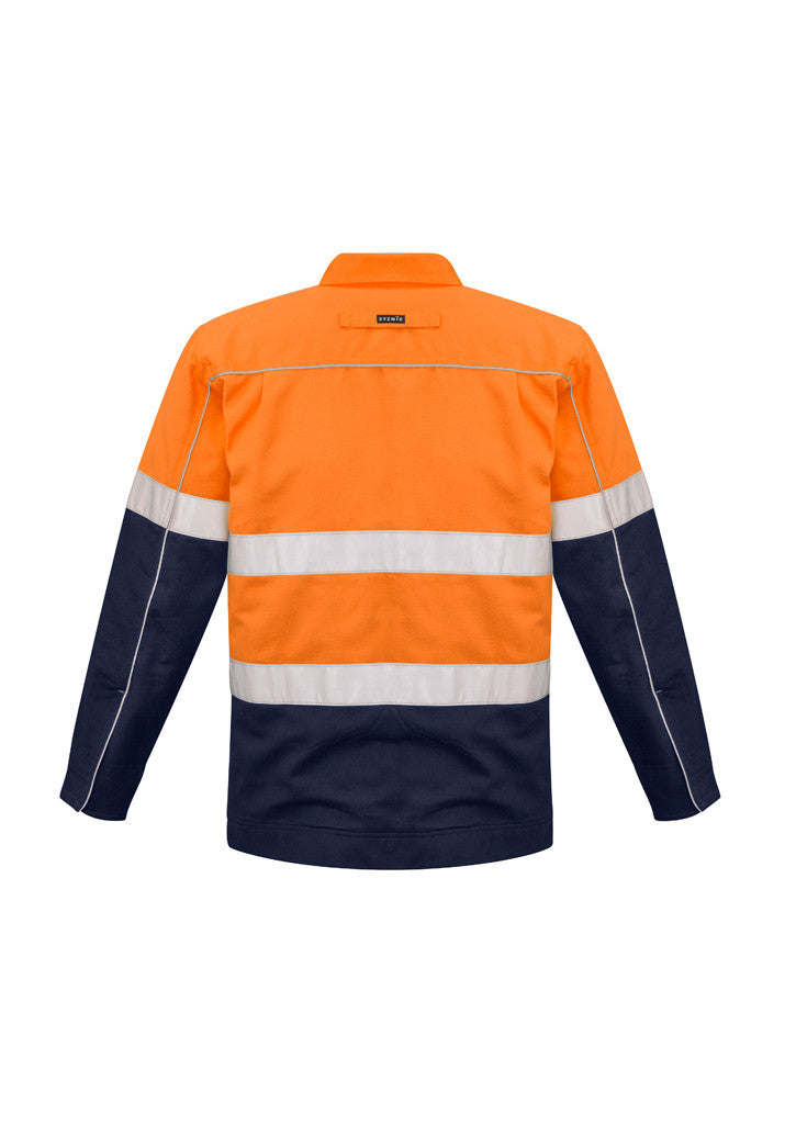 ACTIV EMBROIDERY DESIGNS. UNIFORMS. HI VIS COTTON DRILL JACKET. MENS.
