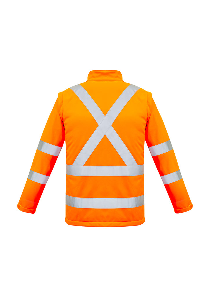 ACTIV EMBROIDERY DESIGNS. UNIFORMS. HI VIS 2 IN 1 X BACK SOFT SHELL JACKET UNISEX.