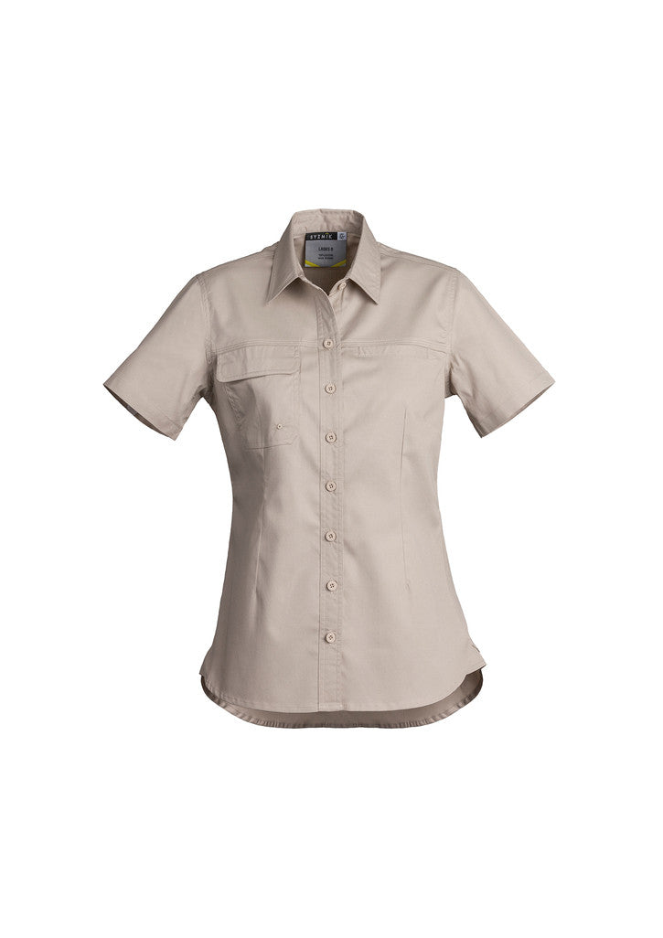 ACTIV EMBROIDERY DESIGNS. UNIFORMS. LIGHTWEIGHT TRADIE SHIRT SHORT SLEEVE. LADIES.