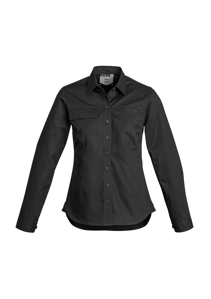 ACTIV EMBROIDERY DESIGNS. UNIFORMS. LIGHTWEIGHT TRADIE SHIRT LONG SLEEVE. LADIES.
