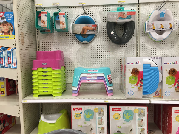 easygokids toilet stool on the shelf at Target (mock up photos)