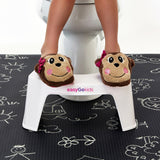 easygokids classic white toilet stool for childhood constipation and dangling feet after potty training