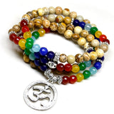 7 Chakra OM (108 Mala beads) Healing Bracelet/Necklace