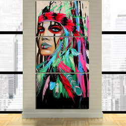 LIMITED EDITION - 3 PIECE AMERICAN INDIAN CANVAS GREEN