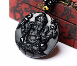 Obsidian Ganesh Luck & Prosperity Amulet Necklace