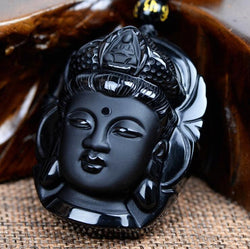 Volcanic Obsidian Buddha Head Amulet Necklace