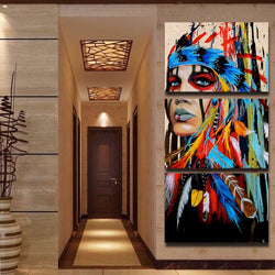 LIMITED EDITION - 3 PIECE AMERICAN INDIAN CANVAS